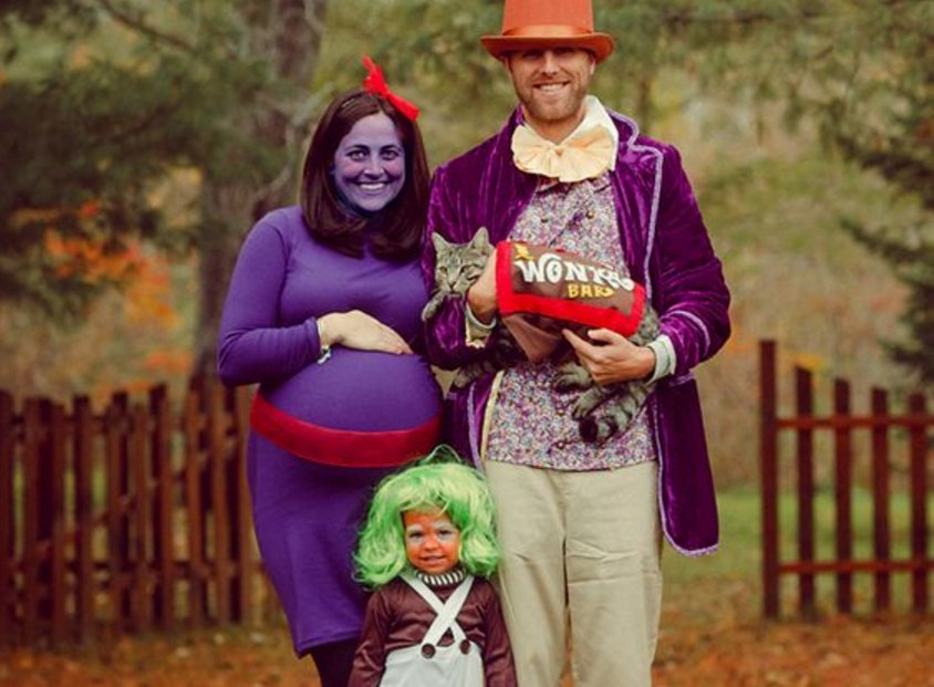 Willy Wonka Family Costume  sc 1 st  Navigating Parenthood & Over 11 Clever Pregnancy Costumes - Navigating ParenthoodNavigating ...