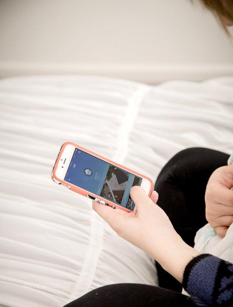 close up of Nest app