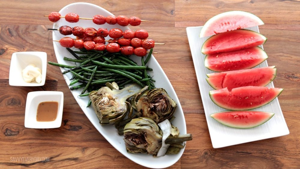 watermelon and grilled veggies