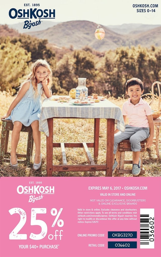 In store coupon for 25% off Spring styles at OshKosh