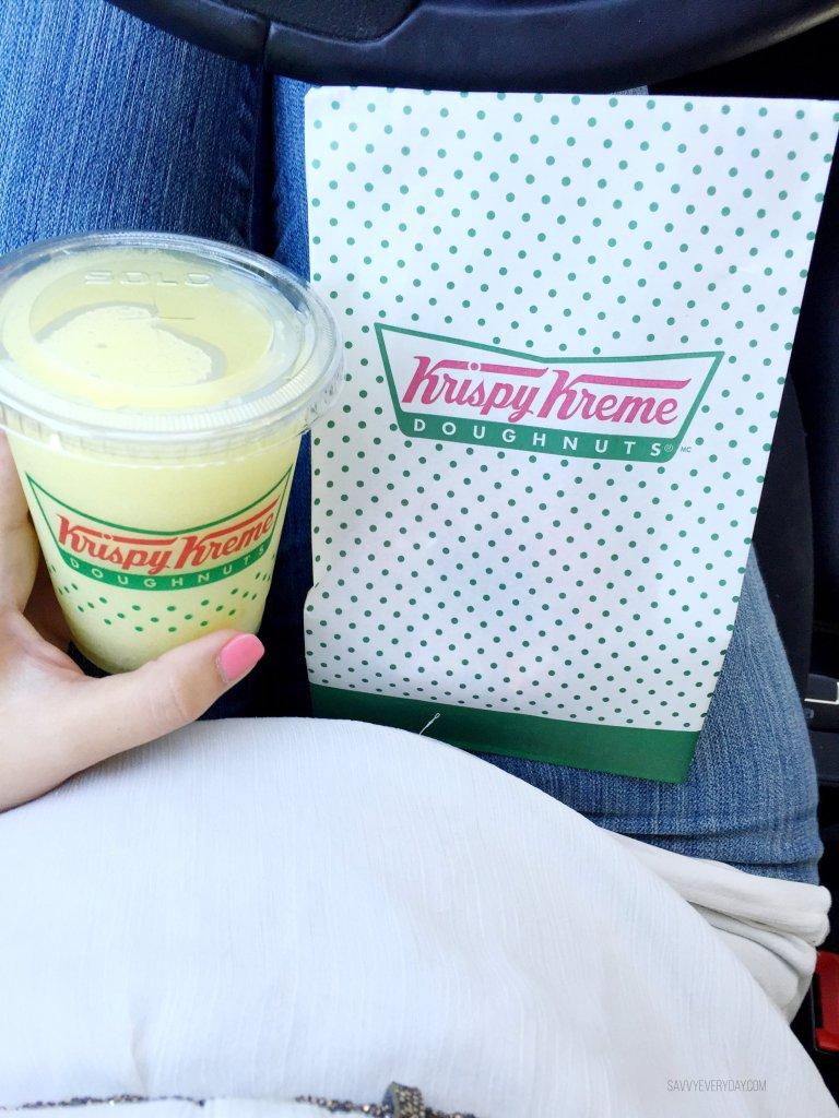 krispy kreme rewards, a drink and a donut