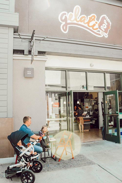 sitting outside gelati pop in Alameda