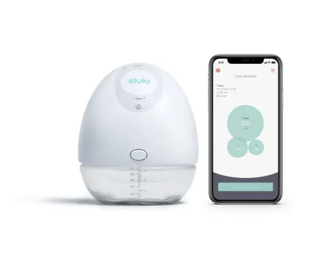 Image of elvie cordless breastpump next to a phone with the elvie breastfeeding app open