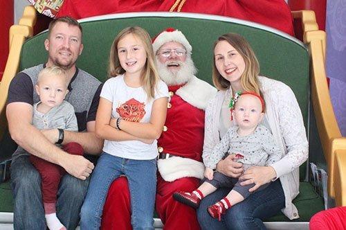 Family photo with Santa at HGTV's Santa HQ