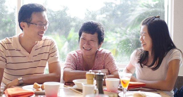 Generations of Disciples Across Decades and Miles | The Navigators International Missions | Asian young adults and senior having good time in restaurant