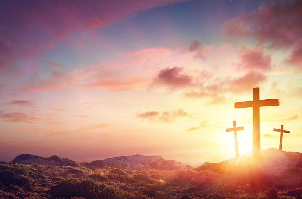 The Importance of The Cross and Resurrection | The Navigators U.S. President Doug Nuenke | Crucifixion Of Jesus Christ - Three Crosses On Hill At Sunset