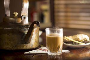 Cutting chai tea kettle