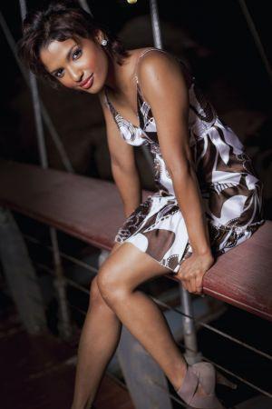 Portrait female fashion sitting