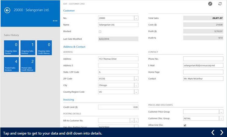 Microsoft Dynamics NAV 2015 Windows 8.1 App (4/6)