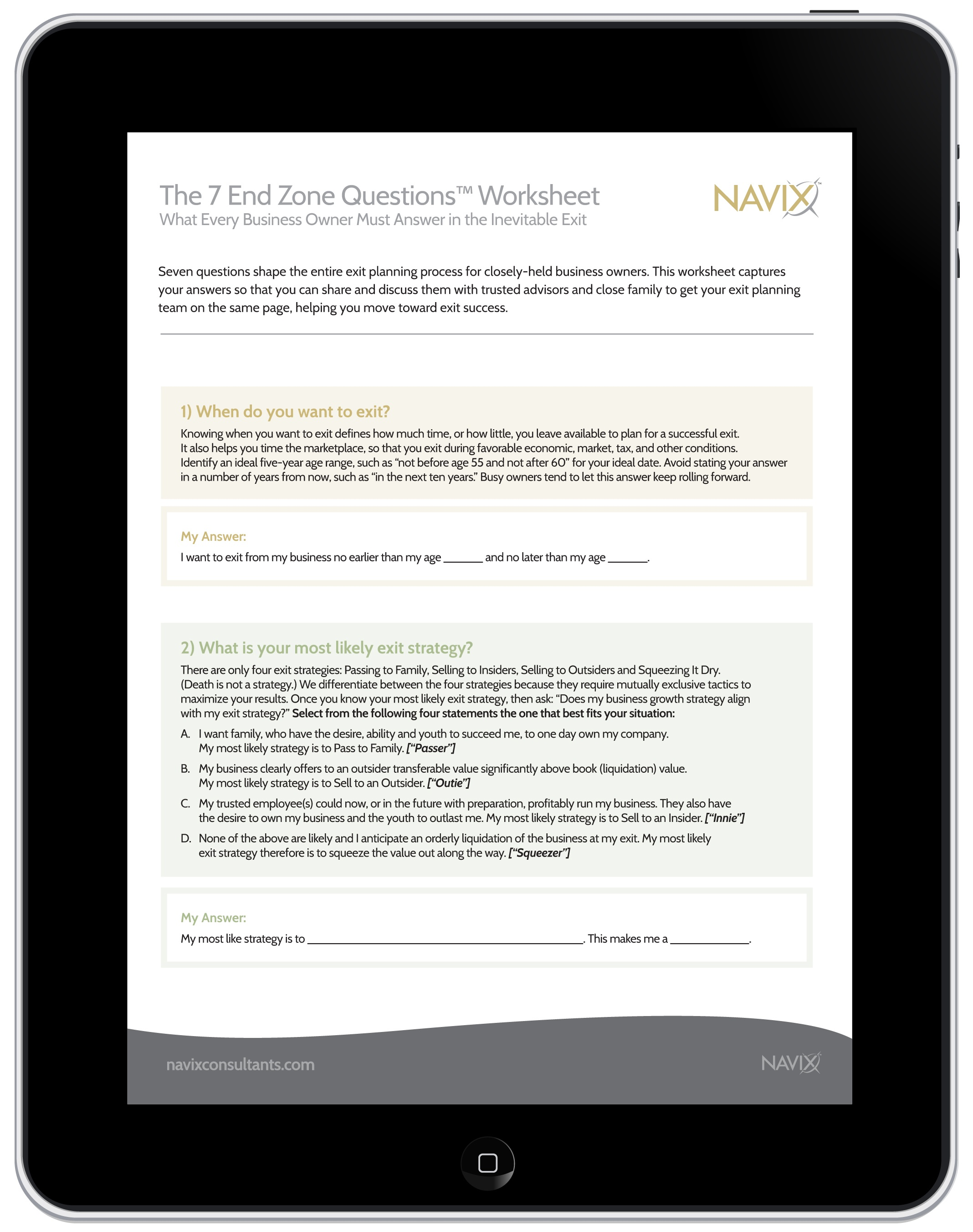 Navix 7 End Zone Questions Worksheet