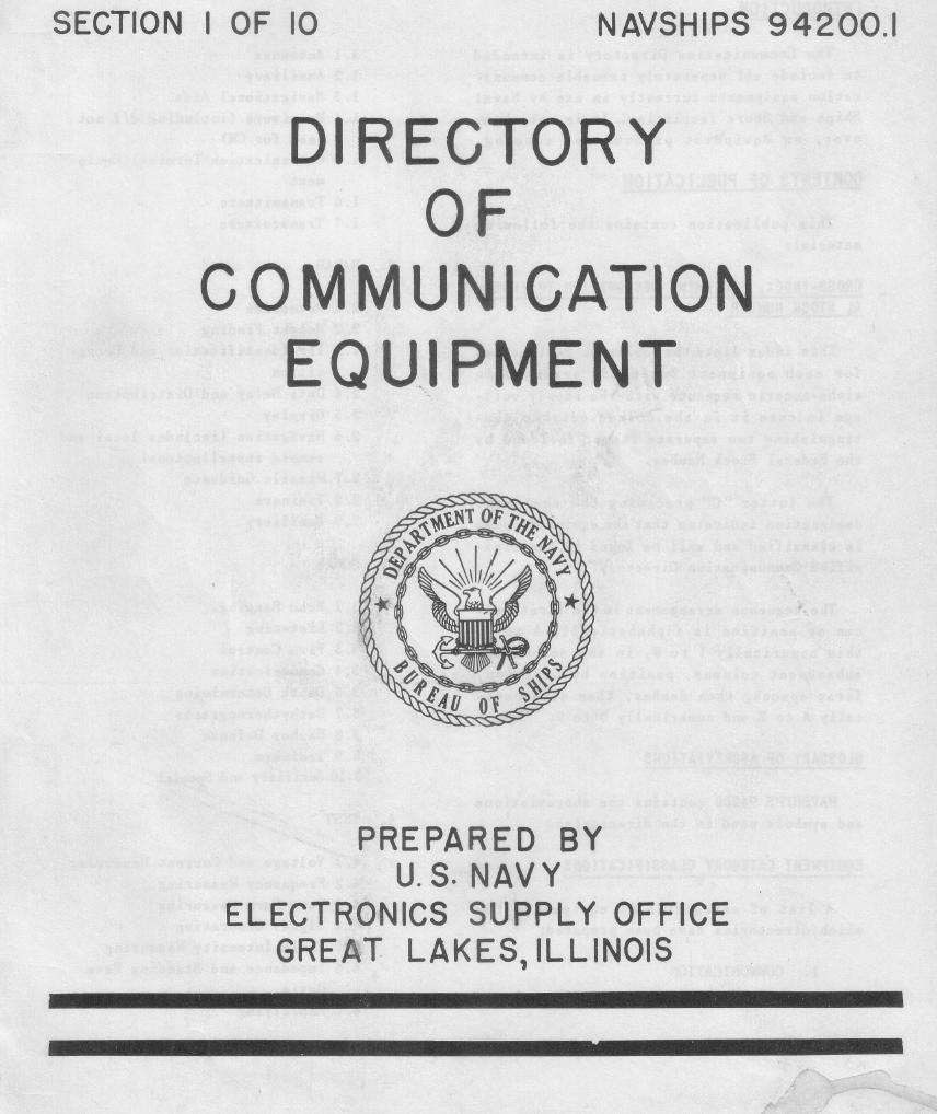 US Navy Directory of Communication Equipment NAVSHIPS 94200