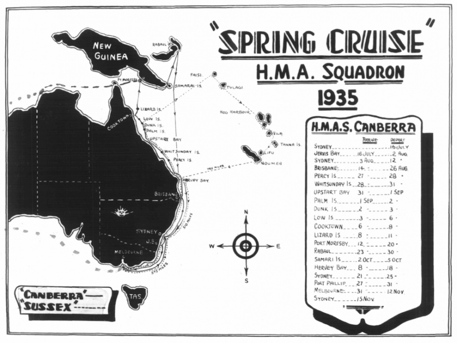 Peacetime saw HMAS Canberra (I) conduct a number of spring training cruises to neighboring Pacific countries.