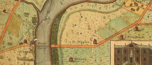 """<b>1802:</b> <a href=""""http://en.wikipedia.org/wiki/George_Gray_(Pennsylvanian)"""" alt=""""Wikipedia: George Gray"""" target=""""new"""">George Gray</a>, owned an inn and tavern, gardens, ferry, and farm along the Schuylkill River just below the mouth of West Philadelphia's Mill Creek and a few miles southwest of Philadelphia's old borders. (See the <a href=""""http://www.davidrumsey.com/luna/servlet/detail/RUMSEY~8~1~205~20052:To-The-Citizens-Of-Philadelphia-Thi"""" target=""""new"""">full Charles P. Varle map</a> at the David Rumsey Historical Map Collection.)"""