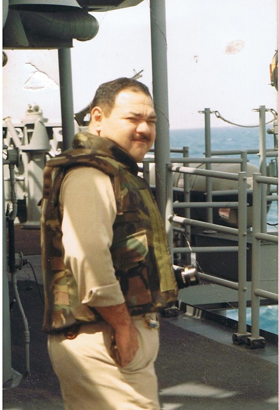 Chief Alex Perez, who was trapped in the engineroom by the mine blast. He survived serious burns after being transported from the Persian Gulf to Texas.