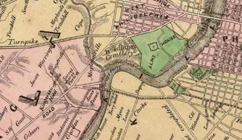 1847: It's mostly farms and fields beyond 41st Street, although mills are working hard at the dammed Mill Creek. (Map: Sidney's 10 Miles Round Philadelphia)