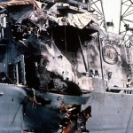 An external view of the damage to the USS Stark in the Persian Gulf in 1987.