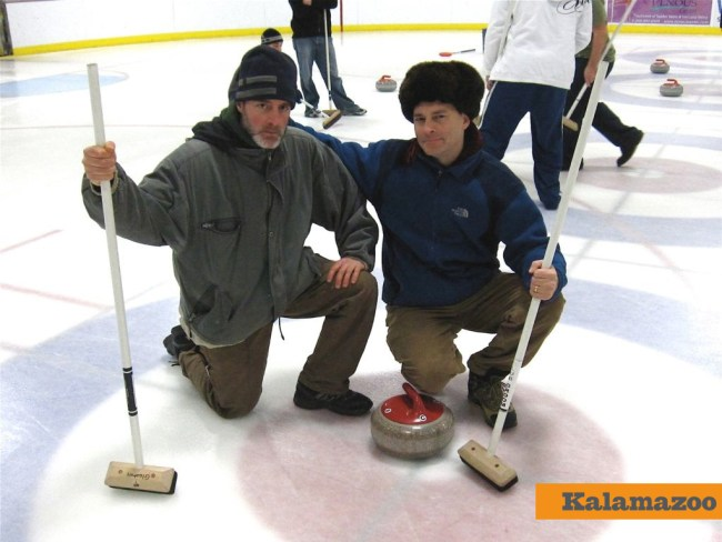Putting the rock in the house with the Kzoo Curling Club.
