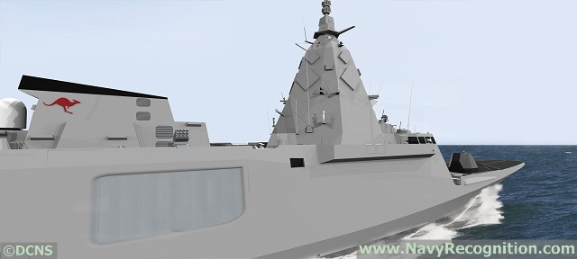 """DCNS representative explained to Navy Recognition that the vessel shares the same hull (same engines, same displacement) based on the proven FREMM design. DCNS used its research and development work already conducted on the FREMM ER (unveiled at Euronaval 2012) to fine tune the design of the mast area for this SEA5000 proposal. As can be seen on the CGIs, the FREMM for Australia is fitted with a 127mm main gun and a Rheinmetall Millenium CIWS gun on top of the helicopter hangar. DCNS stresses that this is """"a first approach to SEA5000 with known or anticipated requirements"""" and that it will adapt the design and systems fit as customer requirements emmerge. The FREMM was designed from the start by DCNS as a potent ASW platform with very low accoustic signature even at speed."""