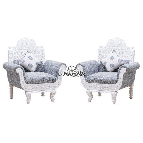 Polish Pu Polish Color White Fabric Color Grey Printed 3 Seater Carved Sofa Set