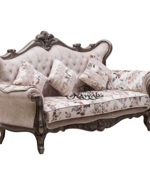 3 Seater Carved Sofa Polish colour Brown Polish-Pu, Fabric Colour Half White, Fabric Velvet