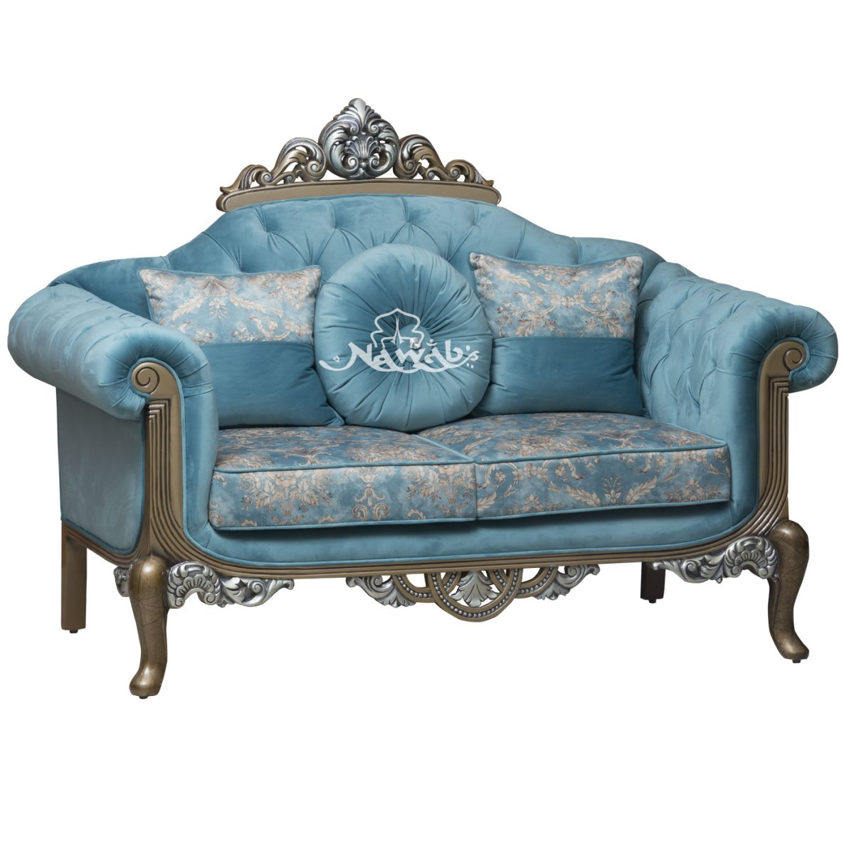 2-Seater-Teak-wood-hand-carved-metallic-golden-and-silver-polish-customized-quilting-suede-fabric