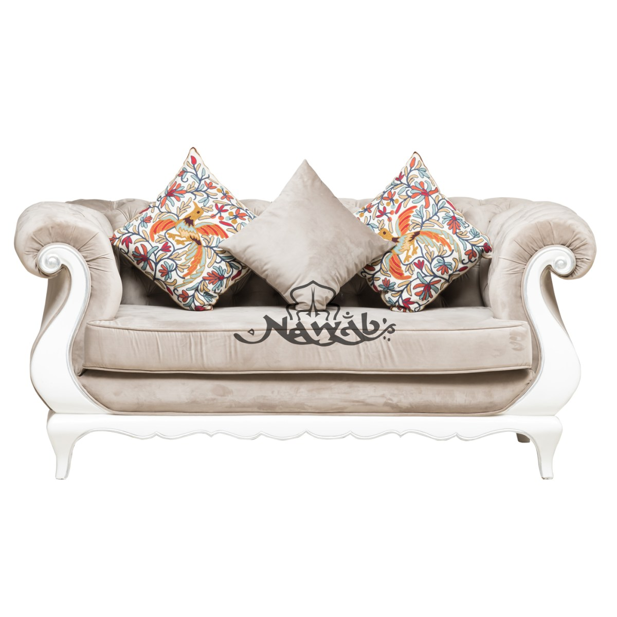 2-seater-teak-wood-frame-hand-carved-velvet-upholstery-white-and-silver-high-gloss-polish-even-at-borders-ethnic-embroidery-cushions
