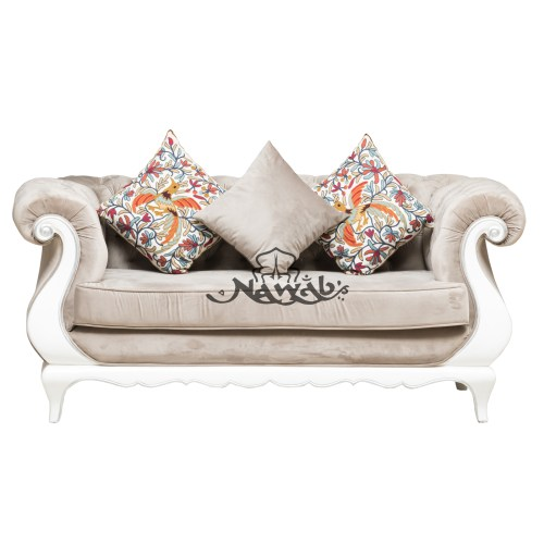 2 Seater Teak wood frame hand carved velvet upholstery white and silver high gloss polish even at borders ethnic embroidery cushions