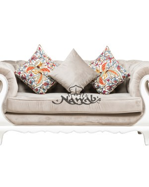 Teak wood frame hand carved velvet upholstery white and silver high gloss polish even at borders ethnic embroidery cushions