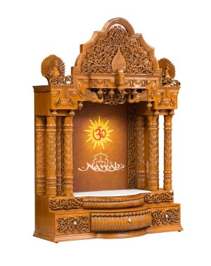 Teak wood totally hand carved temple all the artwork done by hand teak wood pu natural polish
