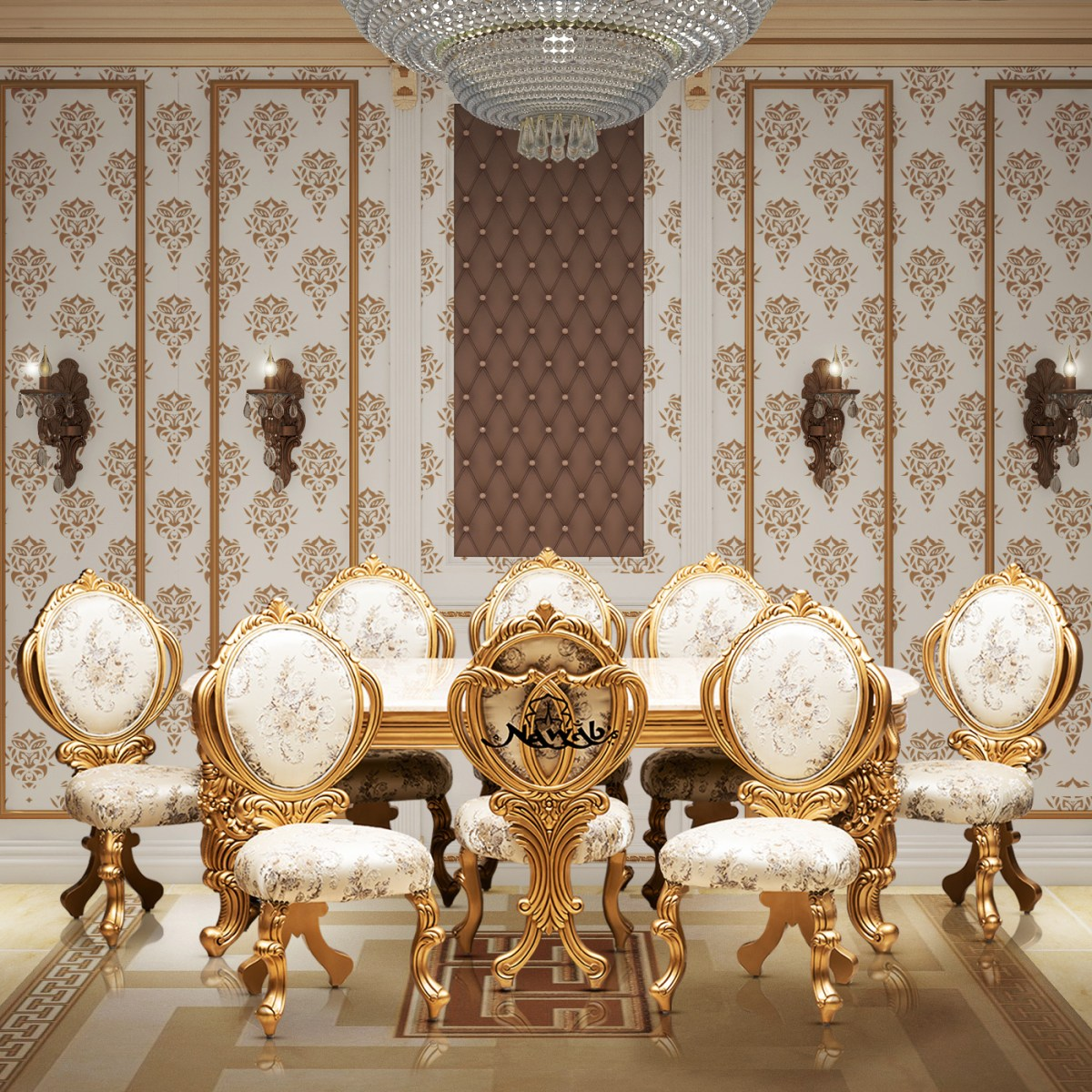 golden-pu-polish-solid-wooden-teak-with-carving-velvet-pattern-fabric-background