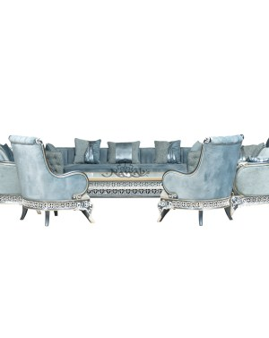 Teak wood hand carved sofa blue white pearl polish with golden lining high-end suede upholstery table blue onyx top