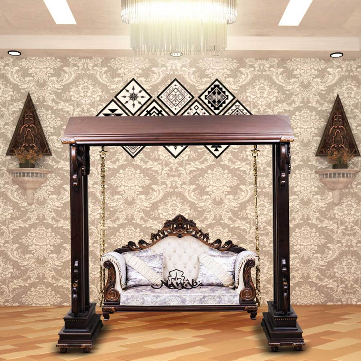 wallnut-mat-polish-solid-wooden-teak-with-carving-cotton-pattern-fabric-center-background