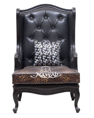 Wing chair victorian classical chair leatherette combination fabric black polish customized quilting