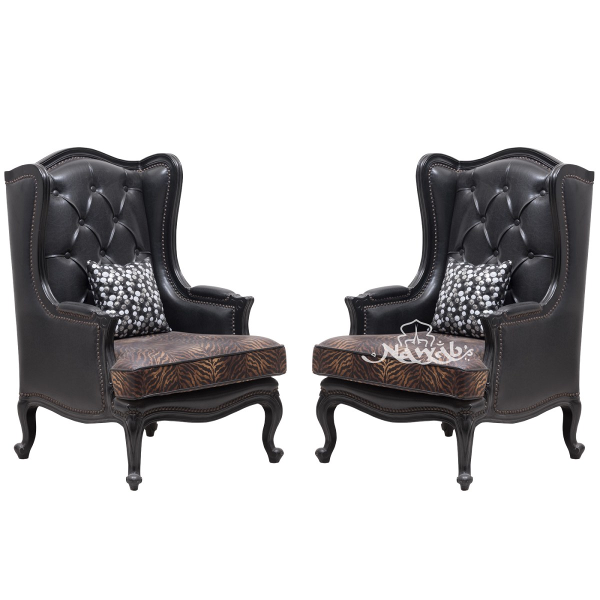 wing-chair-victorian-classical-chair-leatherite-combination-fabric-black-polish-customized-quilting