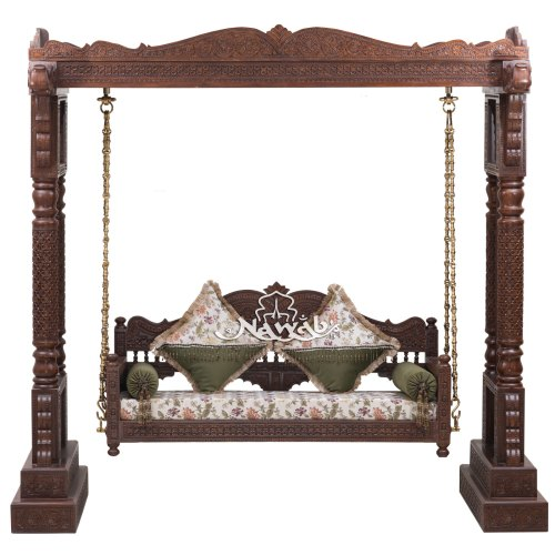 Swing with roof top solid teak wood carved 4 rounded pillars with solden wooden log brass chain melamine matt finish