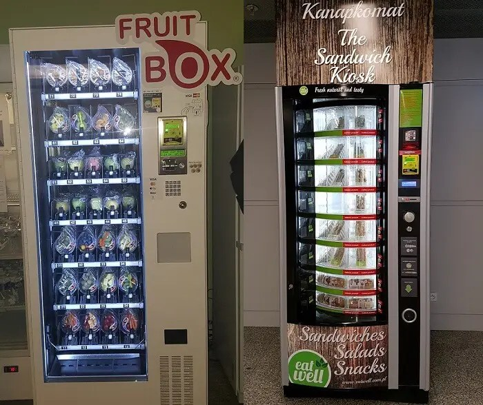 Fruit and sandwiches are some of the healthy foods vending machines can sell