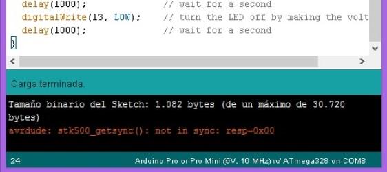 Error de Carga Arduino Mini Pro