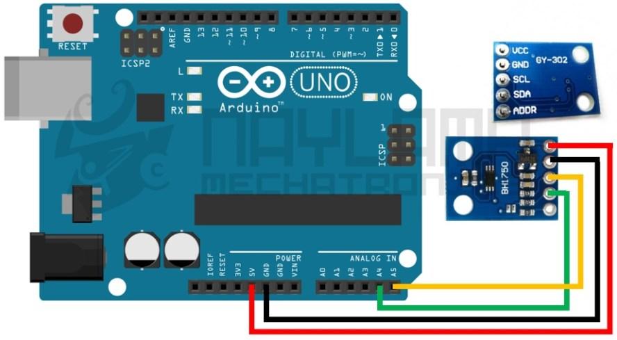 conexiones arduino y sensor de luz BH1750