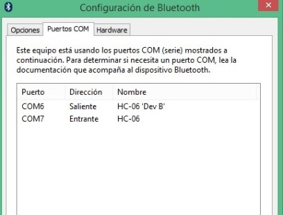 Puertos COM del Bluetooth
