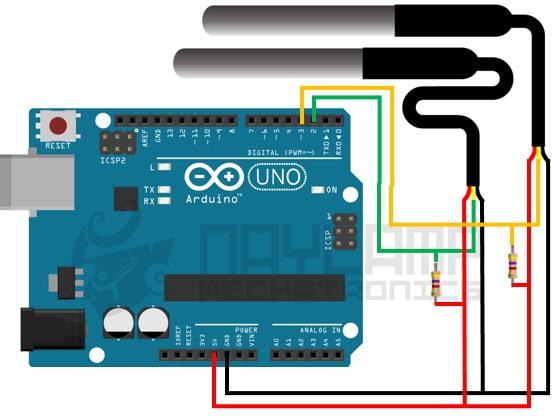 conexion de dos DS18B20 y arduino