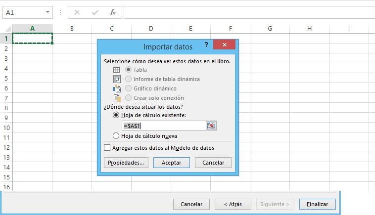 Excel ubicacion de datos