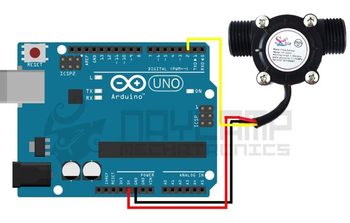 Conexines entre sensor de flujo y arduino