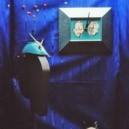 "Three Clocks, 1984 Clockworks and various materials. Displayed as part of ""Nayland Blake, The Wonder Years: 1982-84 at The N-Shaped Gallery, CalArts."