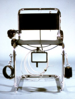 Restraint Chair, 1989, Breuer chromed metal, leather, chains, steel cable, mirror, 33 x 24 x 25 inches