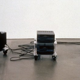 Transport #5 (Function), 1900, two Sony monitors and two video 8 players mounted on three steel trolleys, videotapes (3 parts), each 8 x 9 x 12 inches, overall dimensions variable