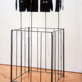 Arena #1, 1993, steel, wire, and fabric, 73 x 36 x 36 inches