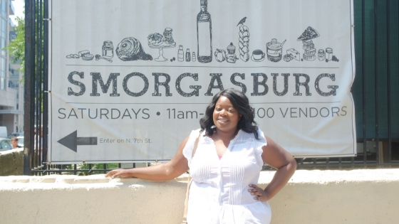 black girl at new york city smorgasburg in summer day