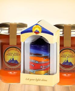 Two Nazareth Honey with handmade Pillar candle