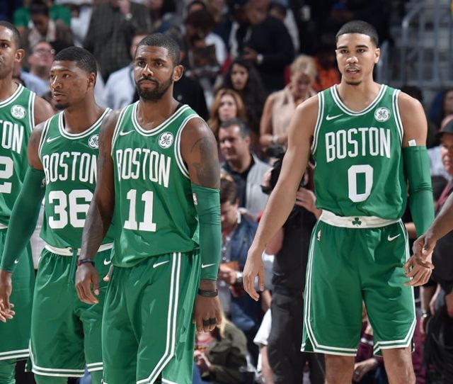 Kyrie Irving Leads The Group Of Al Horford Marcus Smart Jayson Tatum And Jaylen