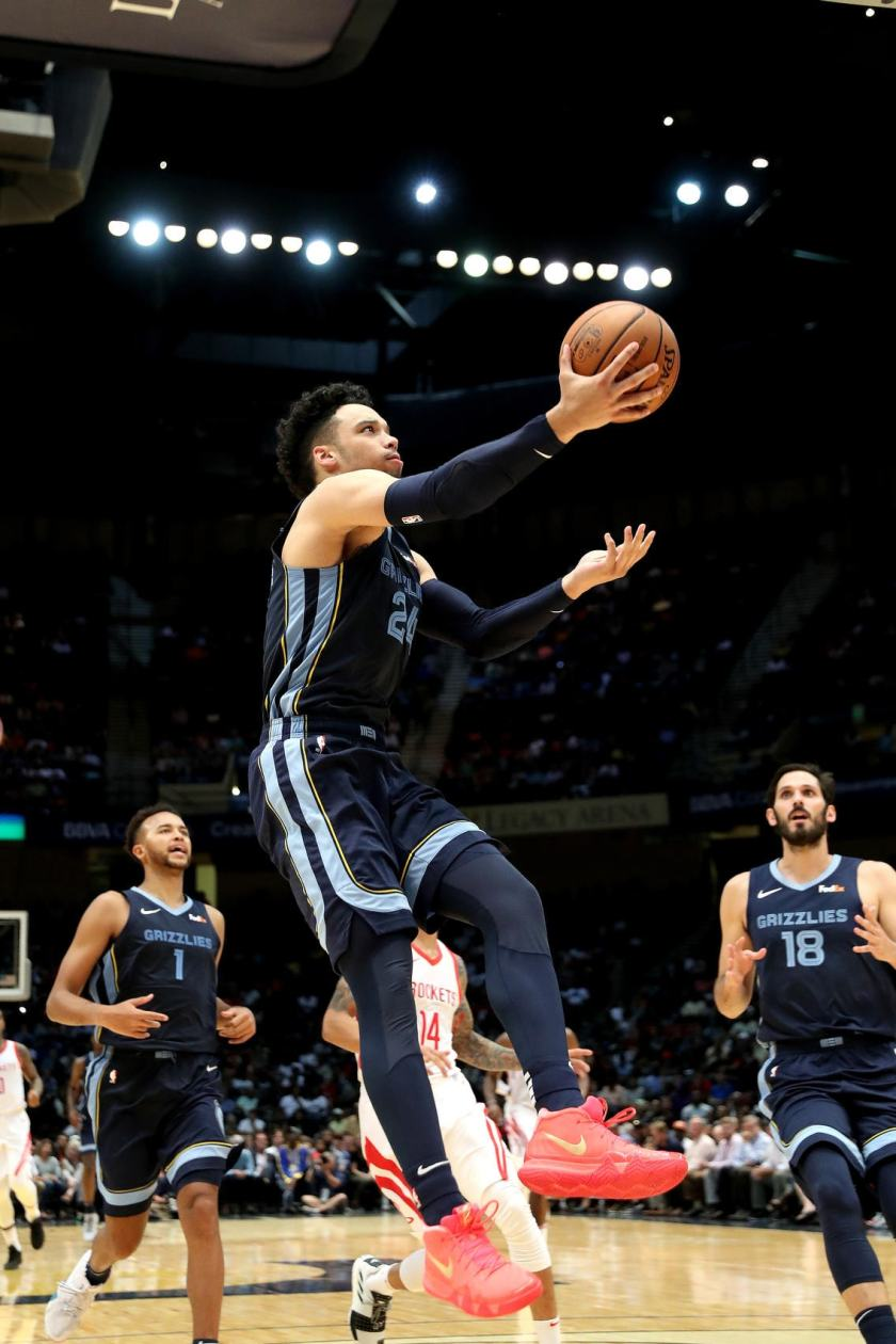 BIRMINGHAM, AL - OCTOBER 2: Dillion Brooks #24 of the Memphis Grizzlies shoots the ball against the Houston Rockets during a pre-season game on October 2, 2018 at Legacy Arena at The BJCC in Birmingham, Alabama. (Joe Murphy/NBAE via Getty Images)